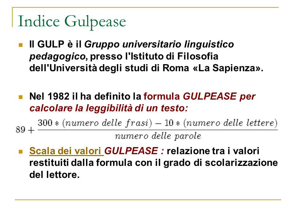 Indice Gulpease Il GULP è il Gruppo universitario linguistico pedagogico, presso l'Istituto di Filosofia dell'Università degli studi di Roma «La Sapie