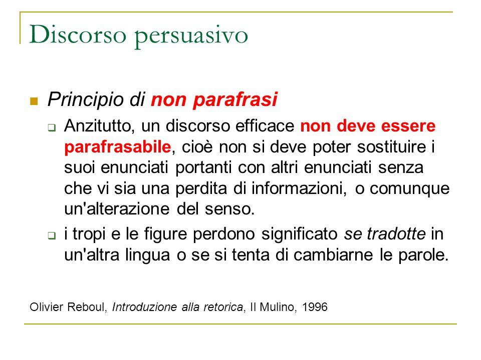 Discorso persuasivo Principio di non parafrasi  Anzitutto, un discorso efficace non deve essere parafrasabile, cioè non si deve poter sostituire i su