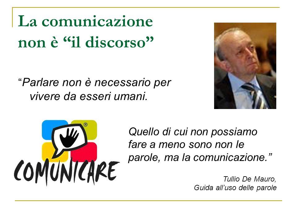 """La comunicazione non è """"il discorso"""" """" Parlare non è necessario per vivere da esseri umani. Quello di cui non possiamo fare a meno sono non le parole,"""