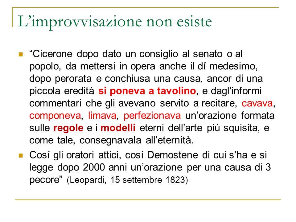 """L'improvvisazione non esiste """"Cicerone dopo dato un consiglio al senato o al popolo, da mettersi in opera anche il dí medesimo, dopo perorata e conchi"""