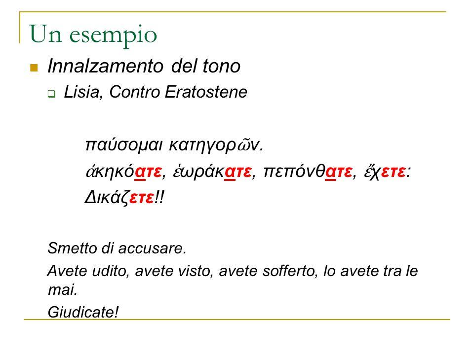 Un esempio Innalzamento del tono  Lisia, Contro Eratostene παύσομαι κατηγορ ῶ ν. ἀ κηκόατε, ἑ ωράκατε, πεπόνθατε, ἔ χετε: Δικάζετε!! Smetto di accusa
