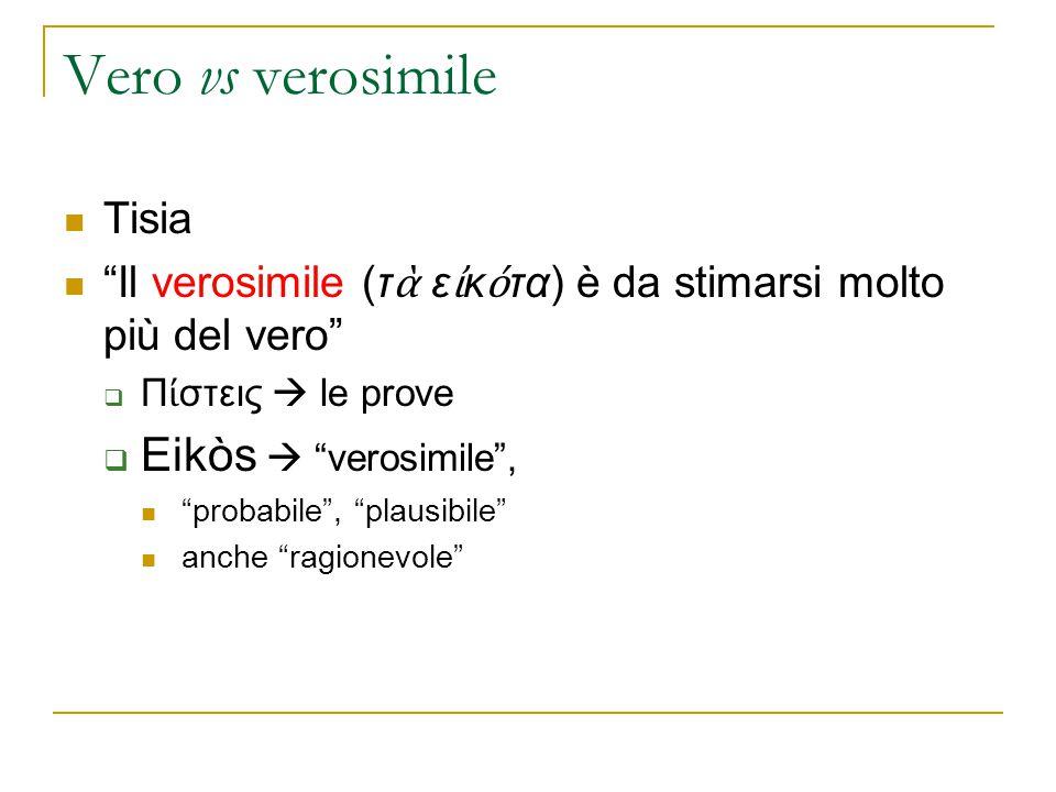 """Vero vs verosimile Tisia """"Il verosimile (τ ὰ ε ἰ κ ό τα) è da stimarsi molto più del vero""""  Π ί στεις  le prove  Eikòs  """"verosimile"""", """"probabile"""","""