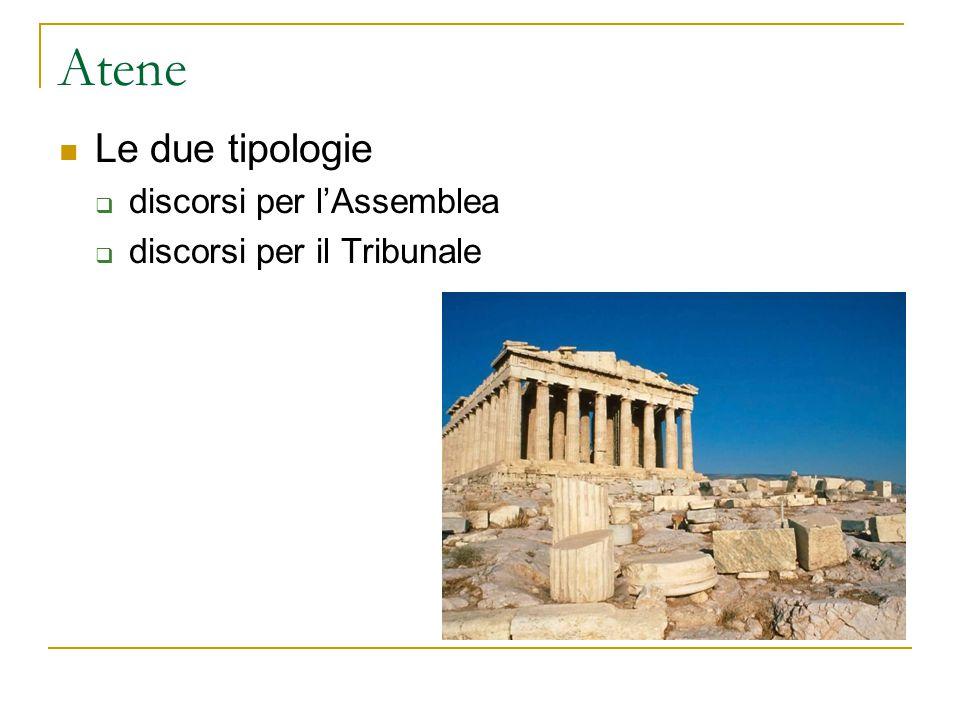 Atene Le due tipologie  discorsi per l'Assemblea  discorsi per il Tribunale