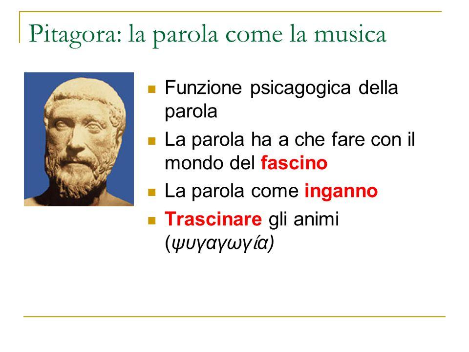 Pitagora: la parola come la musica Funzione psicagogica della parola La parola ha a che fare con il mondo del fascino La parola come inganno Trascinar