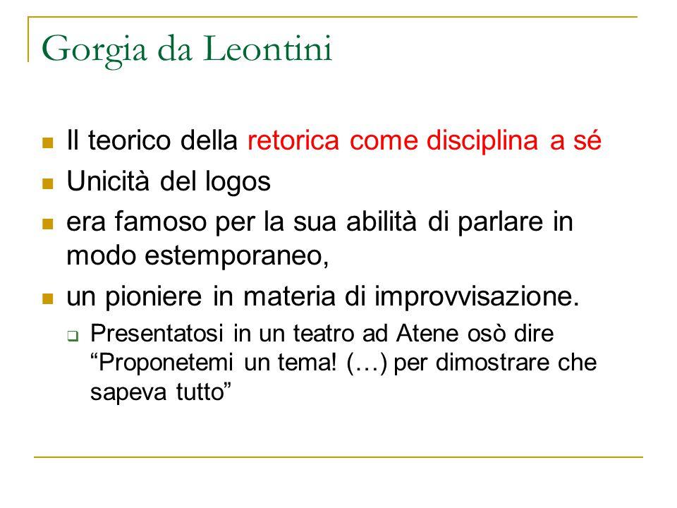 Gorgia da Leontini Il teorico della retorica come disciplina a sé Unicità del logos era famoso per la sua abilità di parlare in modo estemporaneo, un