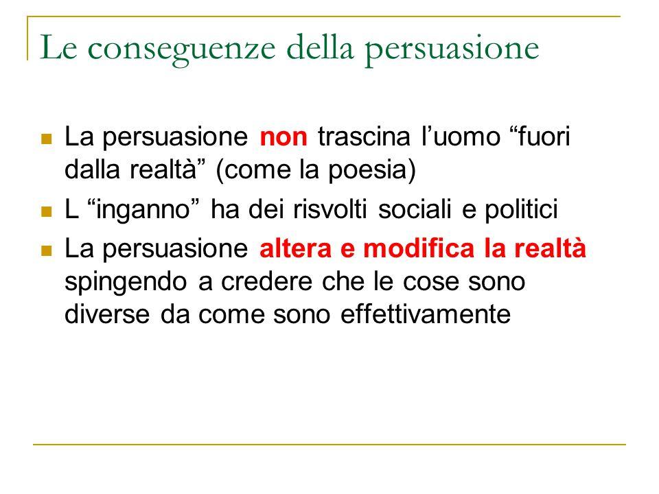 """Le conseguenze della persuasione La persuasione non trascina l'uomo """"fuori dalla realtà"""" (come la poesia) L """"inganno"""" ha dei risvolti sociali e politi"""