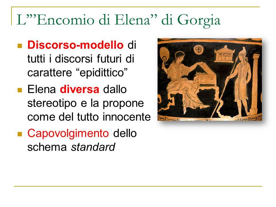 """L'""""Encomio di Elena"""" di Gorgia Discorso-modello di tutti i discorsi futuri di carattere """"epidittico"""" Elena diversa dallo stereotipo e la propone come"""