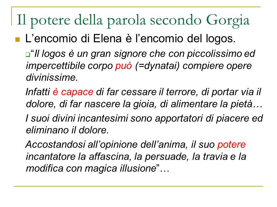 """Il potere della parola secondo Gorgia L'encomio di Elena è l'encomio del logos.  """"Il logos è un gran signore che con piccolissimo ed impercettibile c"""
