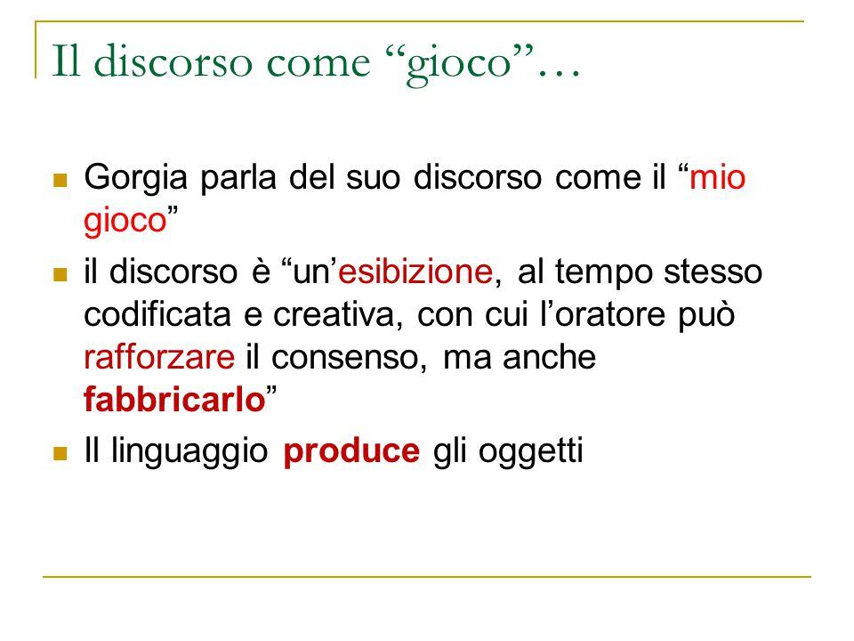 """Il discorso come """"gioco""""… Gorgia parla del suo discorso come il """"mio gioco"""" il discorso è """"un'esibizione, al tempo stesso codificata e creativa, con c"""
