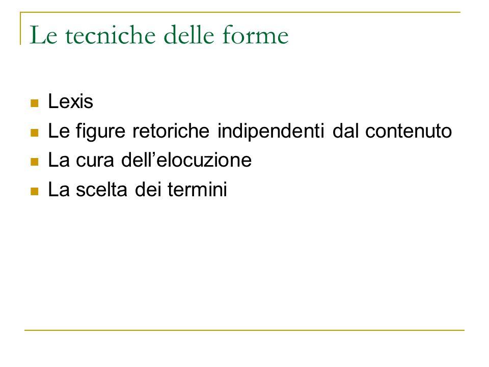 Le tecniche delle forme Lexis Le figure retoriche indipendenti dal contenuto La cura dell'elocuzione La scelta dei termini