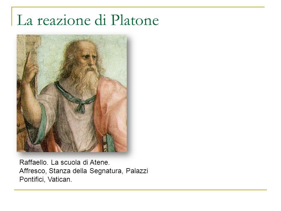 La reazione di Platone Raffaello. La scuola di Atene. Affresco, Stanza della Segnatura, Palazzi Pontifici, Vatican.