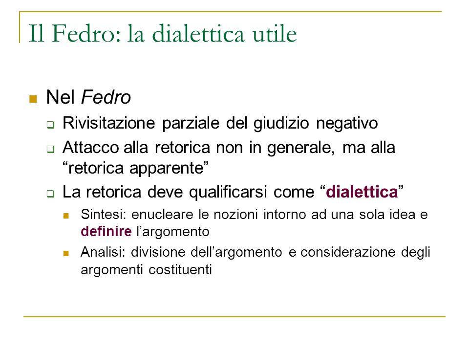 """Il Fedro: la dialettica utile Nel Fedro  Rivisitazione parziale del giudizio negativo  Attacco alla retorica non in generale, ma alla """"retorica appa"""