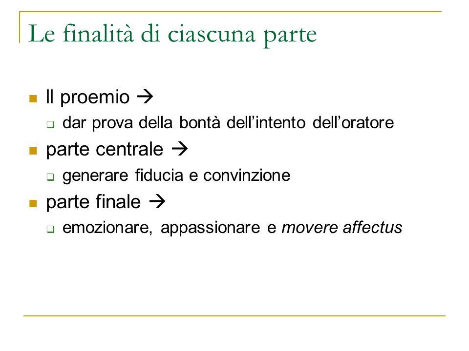 Le finalità di ciascuna parte ll proemio   dar prova della bontà dell'intento dell'oratore parte centrale   generare fiducia e convinzione parte f