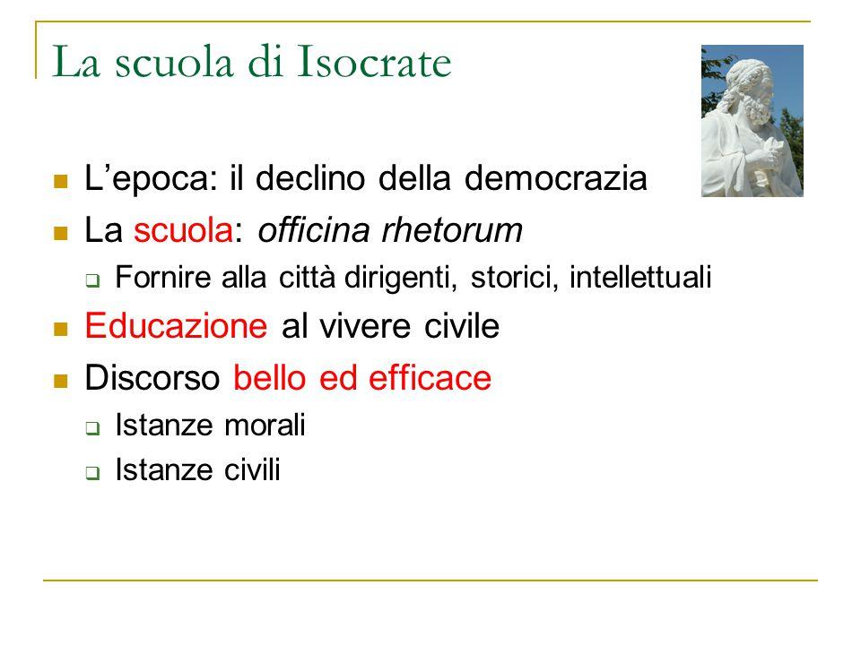 La scuola di Isocrate L'epoca: il declino della democrazia La scuola: officina rhetorum  Fornire alla città dirigenti, storici, intellettuali Educazi