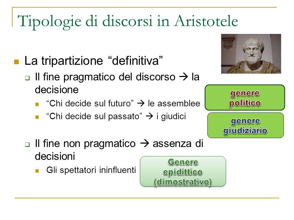 """Tipologie di discorsi in Aristotele La tripartizione """"definitiva""""  Il fine pragmatico del discorso  la decisione """"Chi decide sul futuro""""  le assemb"""