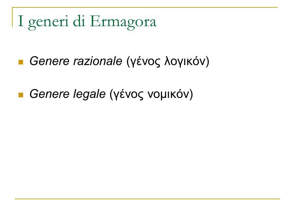 I generi di Ermagora Genere razionale (γένος λογικόν) Genere legale (γένος νομικόν)