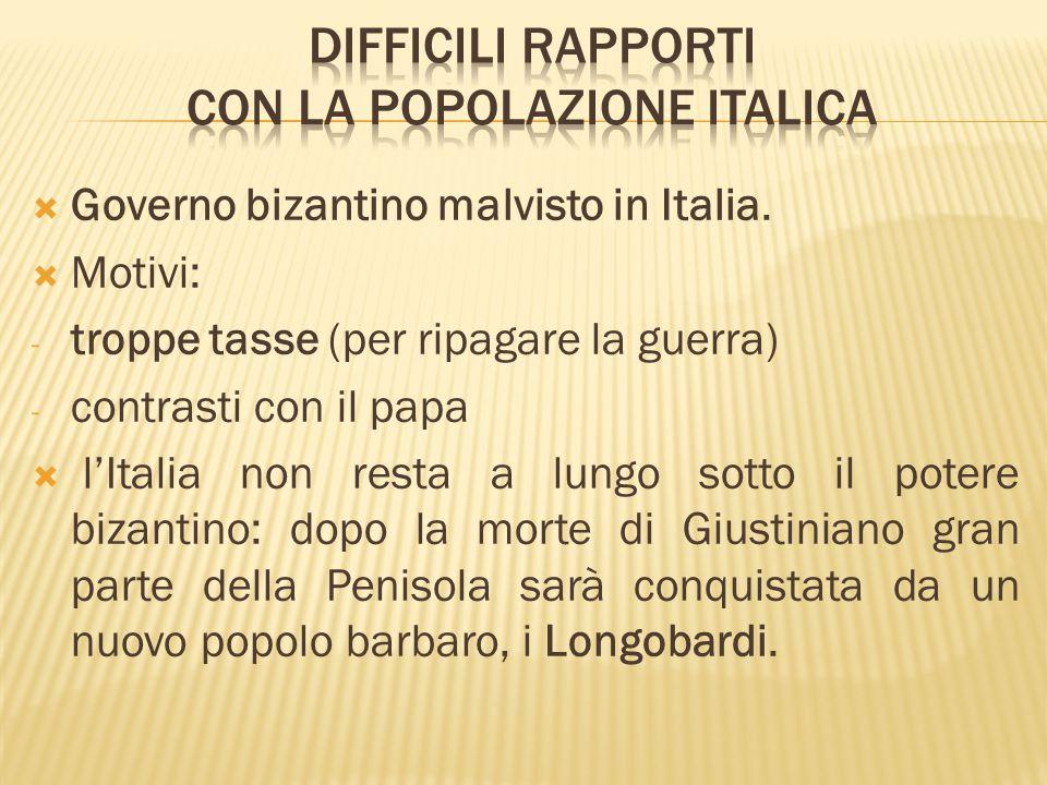  Governo bizantino malvisto in Italia.  Motivi: - troppe tasse (per ripagare la guerra) - contrasti con il papa  l'Italia non resta a lungo sotto i