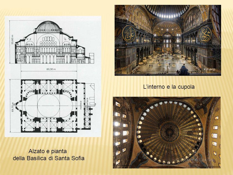Alzato e pianta della Basilica di Santa Sofia L'interno e la cupola