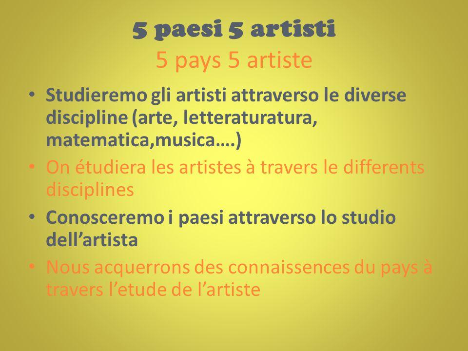 5 paesi 5 artisti 5 pays 5 artiste Studieremo gli artisti attraverso le diverse discipline (arte, letteraturatura, matematica,musica….) On étudiera le