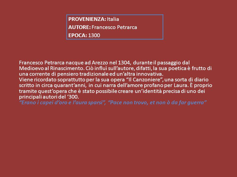 Francesco Petrarca nacque ad Arezzo nel 1304, durante il passaggio dal Medioevo al Rinascimento.