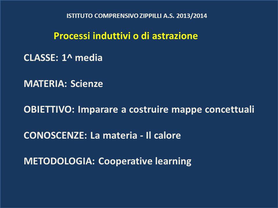 ISTITUTO COMPRENSIVO ZIPPILLI A.S. 2013/2014 CLASSE: 1^ media MATERIA: Scienze OBIETTIVO: Imparare a costruire mappe concettuali CONOSCENZE: La materi