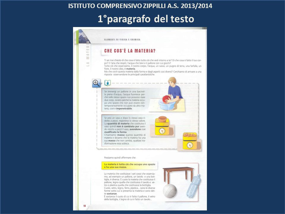 ISTITUTO COMPRENSIVO ZIPPILLI A.S. 2013/2014 1°paragrafo del testo