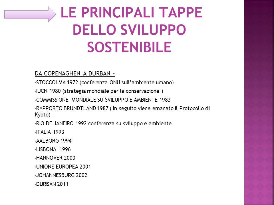 LE PRINCIPALI TAPPE DELLO SVILUPPO SOSTENIBILE DA COPENAGHEN A DURBAN – STOCCOLMA 1972 (conferenza ONU sull'ambiente umano) IUCN 1980 (strategia mondiale per la conservazione ) COMMISSIONE MONDIALE SU SVILUPPO E AMBIENTE 1983 RAPPORTO BRUNDTLAND 1987 ( In seguito viene emanato il Protocollo di Kyoto) RIO DE JANEIRO 1992 conferenza su sviluppo e ambiente ITALIA 1993 AALBORG 1994 LISBONA 1996 HANNOVER 2000 UNIONE EUROPEA 2001 JOHANNESBURG 2002 DURBAN 2011