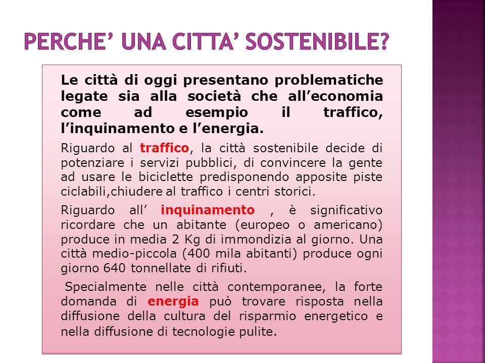 Le città di oggi presentano problematiche legate sia alla società che all'economia come ad esempio il traffico, l'inquinamento e l'energia.