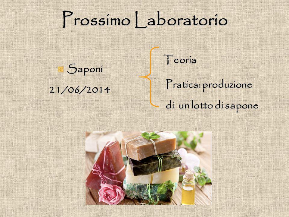 Prossimo Laboratorio Saponi21/06/2014 Teoria Pratica: produzione di un lotto di sapone