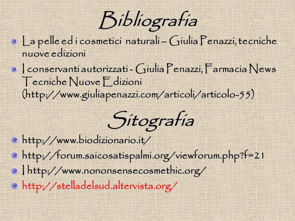 Bibliografia La pelle ed i cosmetici naturali – Giulia Penazzi, tecniche nuove edizioni I conservanti autorizzati - Giulia Penazzi, Farmacia News Tecniche Nuove Edizioni (http://www.giuliapenazzi.com/articoli/articolo-55) http://www.biodizionario.it/http://forum.saicosatispalmi.org/viewforum.php f=21 I http://www.nononsensecosmethic.org/ http://stelladelsud.altervista.org/ Sitografia