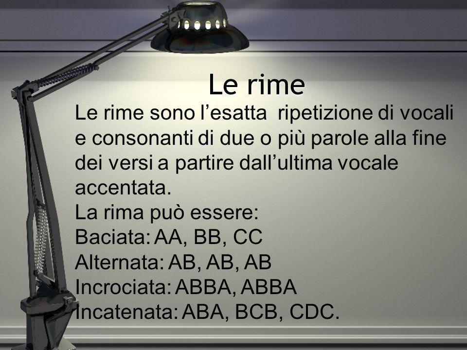 Accento ritmico Il ritmo di una poesia è determinato dagli accenti delle singole parole.