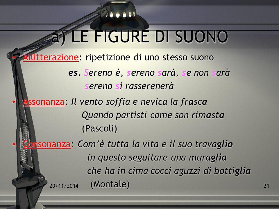 20/11/201420 Le figure retoriche possono essere: Di suono Di significato Sintattiche Di suono Di significato Sintattiche