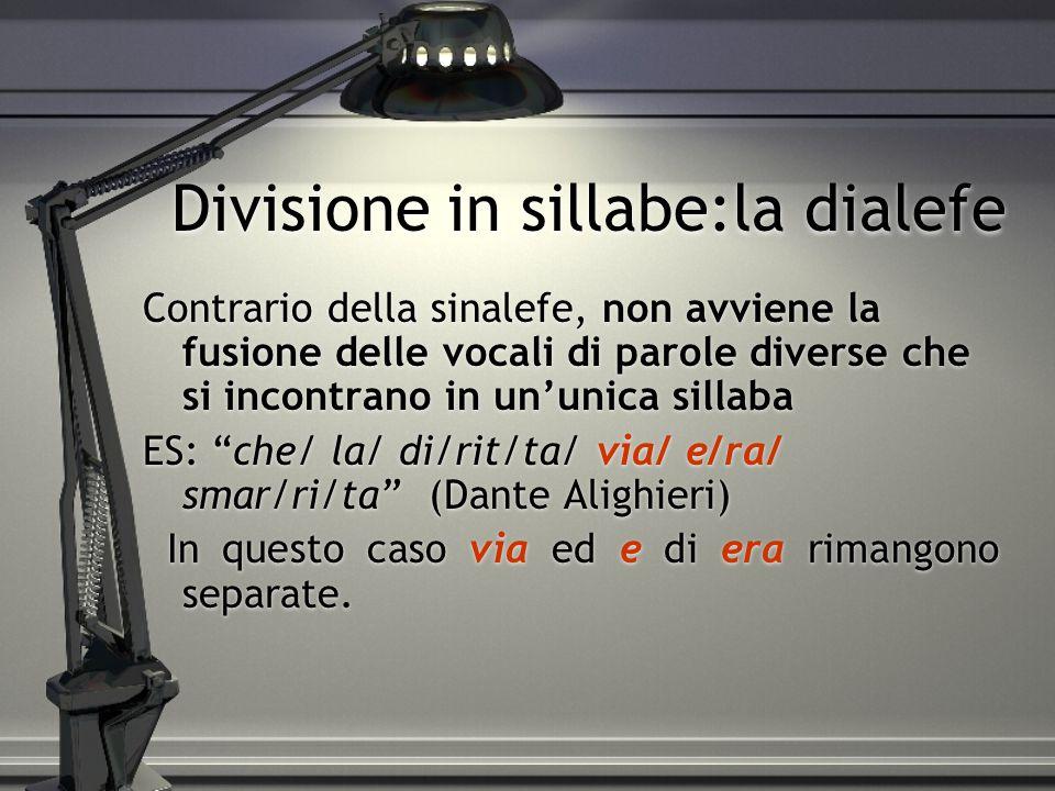 Divisione in sillabe:la dialefe Contrario della sinalefe, non avviene la fusione delle vocali di parole diverse che si incontrano in un'unica sillaba ES: che/ la/ di/rit/ta/ via/ e/ra/ smar/ri/ta (Dante Alighieri) In questo caso via ed e di era rimangono separate.