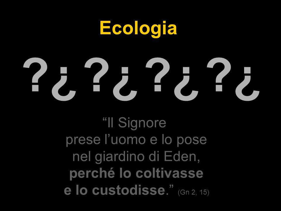 Ecologia Il Signore prese l'uomo e lo pose nel giardino di Eden, perché lo coltivasse e lo custodisse. (Gn 2, 15) ¿ ¿ ¿ ¿ ¿ ¿ ¿ ¿
