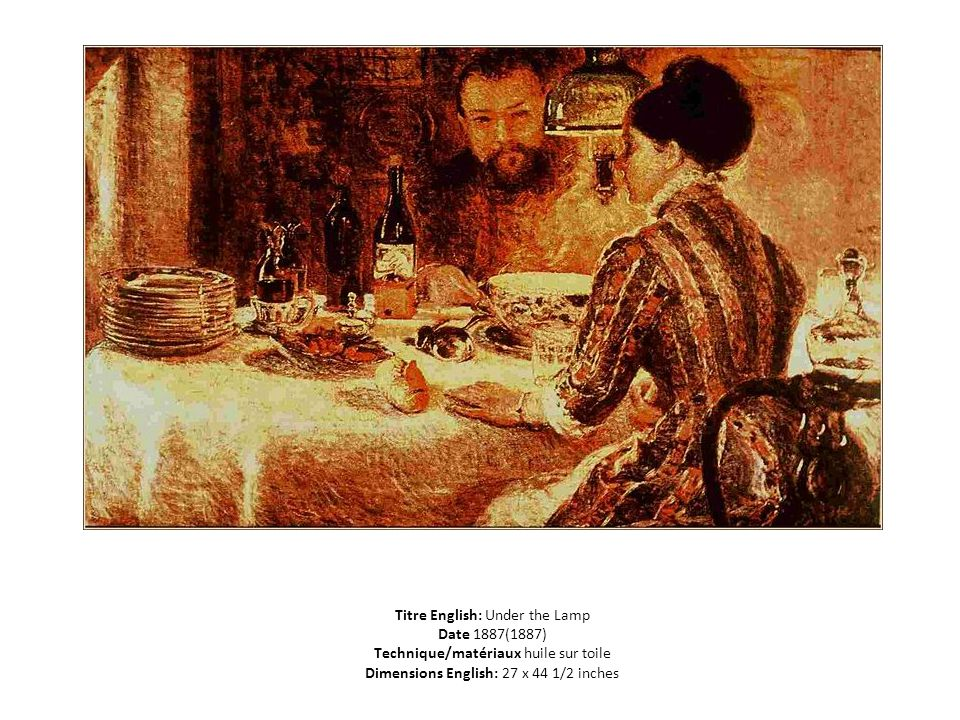 Titre English: Under the Lamp Date 1887(1887) Technique/matériaux huile sur toile Dimensions English: 27 x 44 1/2 inches