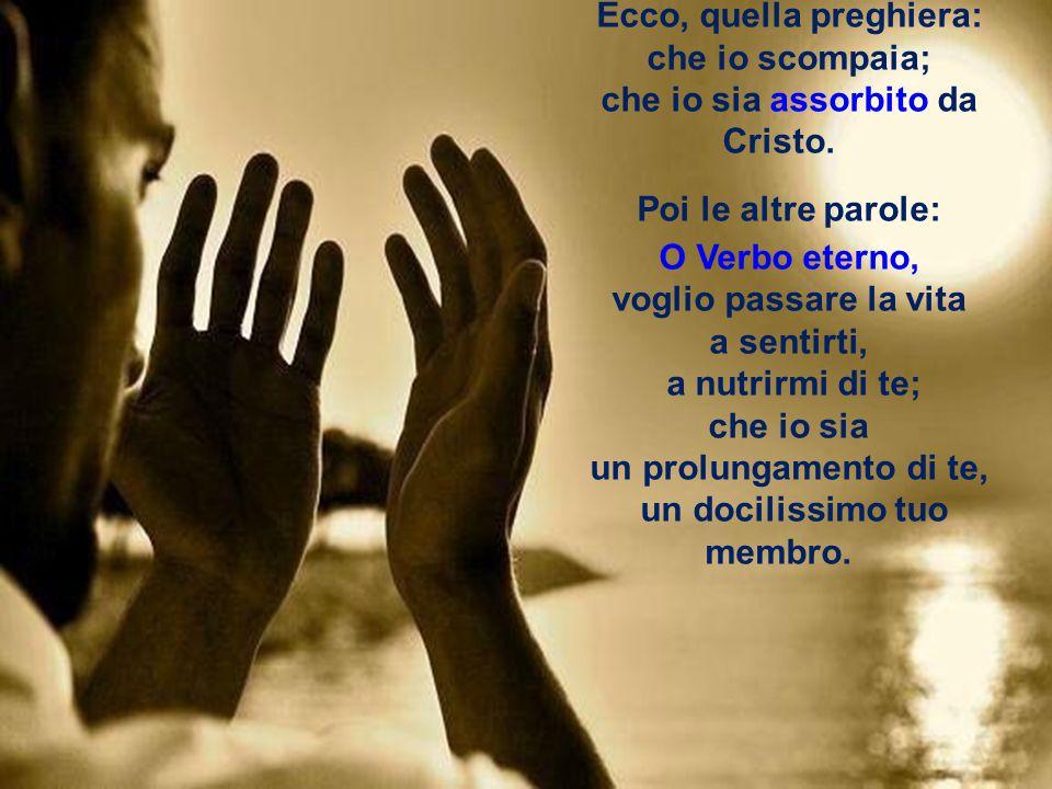 Ecco, quella preghiera: che io scompaia; che io sia assorbito da Cristo.