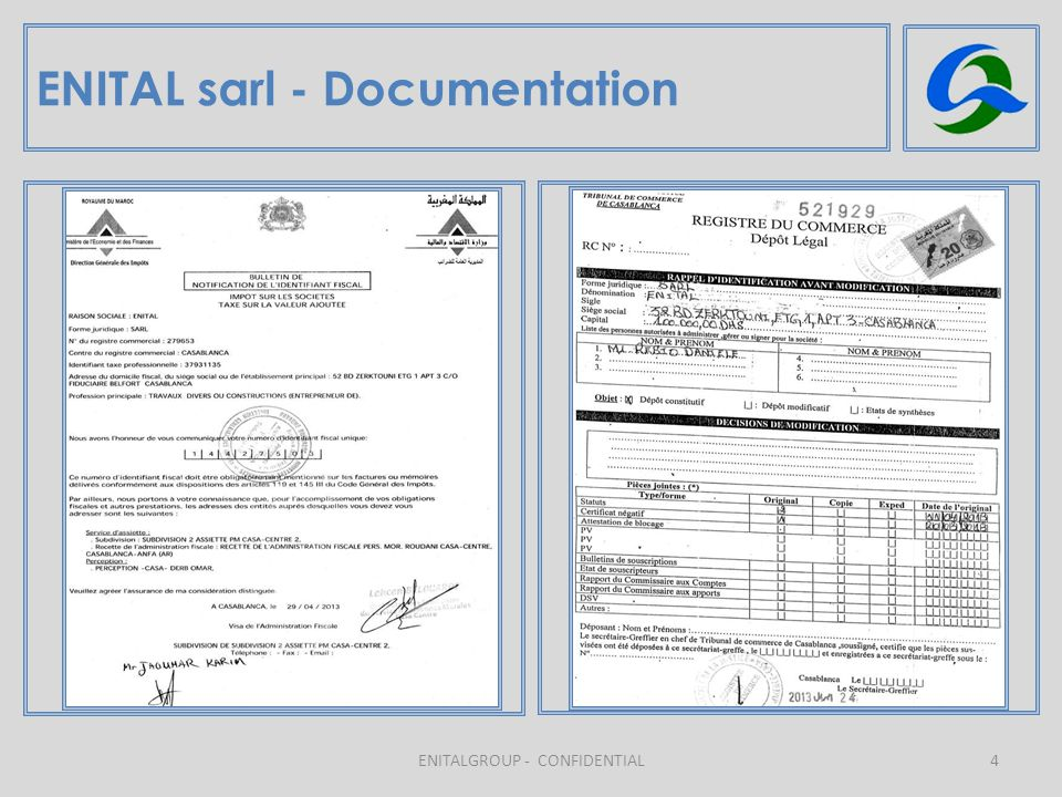 4 ENITAL sarl - Documentation ENITALGROUP - CONFIDENTIAL