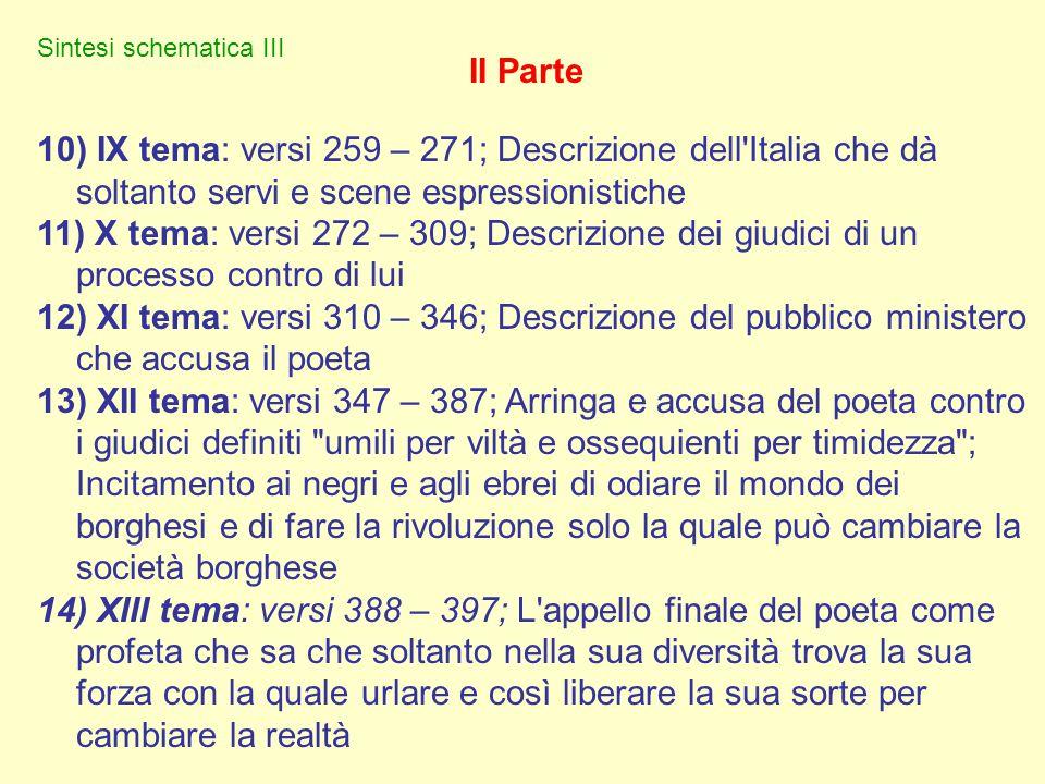 5) IV tema: versi 175 – 195; Ritorno al presente e alla sua diversità sessuale e culturale e la differenza con tutti i normali e la ricerca di altri d