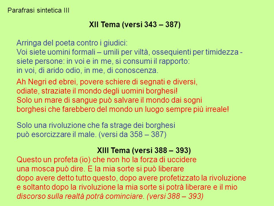 Parafrasi sintetica II II Tema (versi 131 – 165) Io non ho ragione per essere diverso non conosco il vostro Dio, io sono ateo prigioniero soltanto del mio amore libero in ogni mia passione.