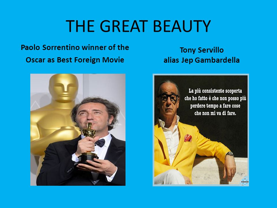 THE GREAT BEAUTY Paolo Sorrentino winner of the Oscar as Best Foreign Movie Tony Servillo alias Jep Gambardella