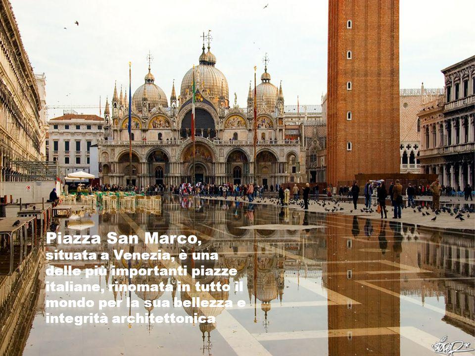 Piazza San Marco, situata a Venezia, è una delle più importanti piazze italiane, rinomata in tutto il mondo per la sua bellezza e integrità architettonica