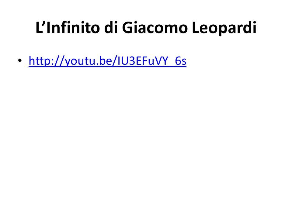 L'Infinito di Giacomo Leopardi http://youtu.be/IU3EFuVY_6s
