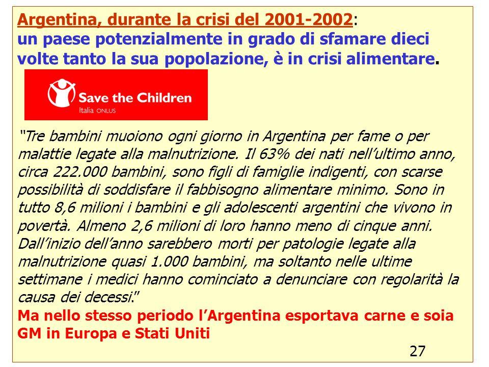 21 Argentina, durante la crisi del 2001-2002: un paese potenzialmente in grado di sfamare dieci volte tanto la sua popolazione, è in crisi alimentare.