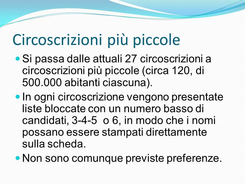 Circoscrizioni più piccole Si passa dalle attuali 27 circoscrizioni a circoscrizioni più piccole (circa 120, di 500.000 abitanti ciascuna).