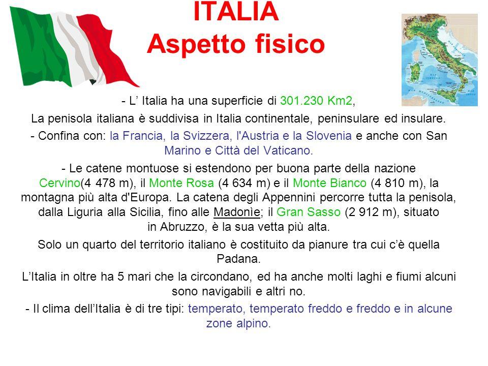 ITALIA Aspetto fisico - L' Italia ha una superficie di 301.230 Km2, La penisola italiana è suddivisa in Italia continentale, peninsulare ed insulare.