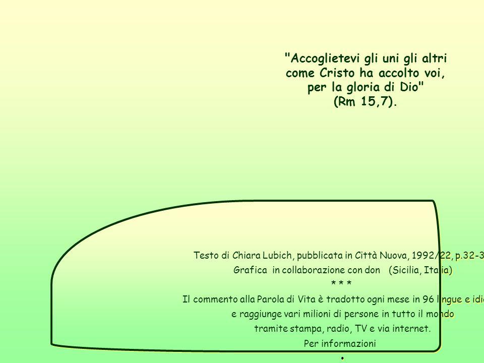 Testo di Chiara Lubich, pubblicata in Città Nuova, 1992/22, p.32-33.