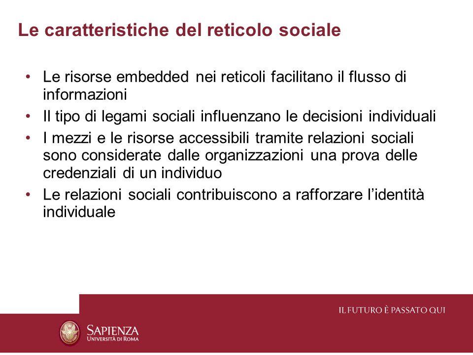 Le caratteristiche del reticolo sociale Le risorse embedded nei reticoli facilitano il flusso di informazioni Il tipo di legami sociali influenzano le decisioni individuali I mezzi e le risorse accessibili tramite relazioni sociali sono considerate dalle organizzazioni una prova delle credenziali di un individuo Le relazioni sociali contribuiscono a rafforzare l'identità individuale