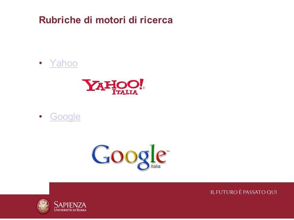 Rubriche di motori di ricerca Yahoo Google