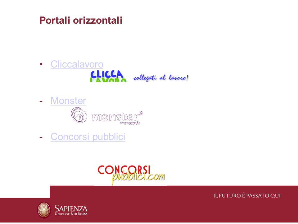 Portali orizzontali Cliccalavoro -MonsterMonster -Concorsi pubbliciConcorsi pubblici