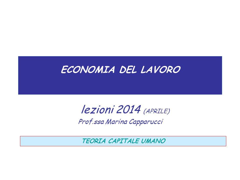 ECONOMIA DEL LAVORO lezioni 2014 (APRILE) Prof.ssa Marina Capparucci TEORIA CAPITALE UMANO